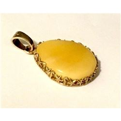 Large Egg Yolk Butterscotch Amber Sterling Silver Pendant