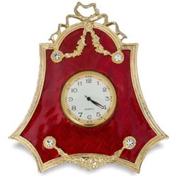 Russian Red Enameled Guilloche Desk Clock