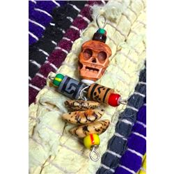 Carved Bone & Art Glass Bead Skeleton Calavera Pendant