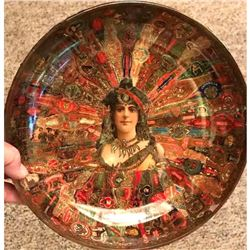 Late 19thc Victorian Folk Art Decoupage Cigar Band Glass Bowl