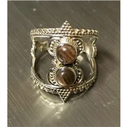 African Sunstone & Sterling Silver Tribal Ring