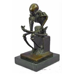 After Rodin's Thinker, Skeleton Thinker Bronze Sculpture