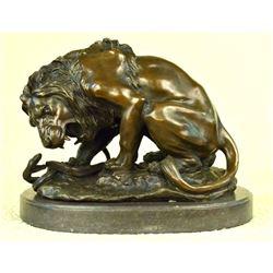 Signed Barye, Lion & Snake Bronze Sculpture