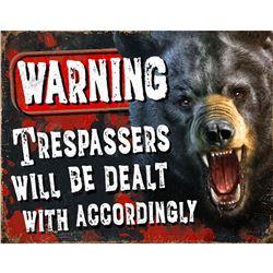Warning, Trespassers Metal Pub Bar Sign