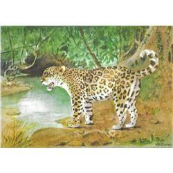 1920's Jaguar, Color Lithograph Print