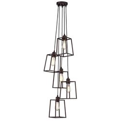 Industrial Style 5-Light Geometric Ceiling Pendant Chandelier