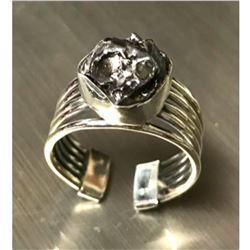 Meteorite & Sterling Silver Adjustable Ring