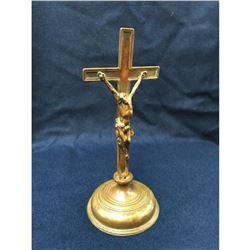 Antique Brass Standing Church Crucifix Cross