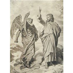 Vintage c1920's Half-tone Print, Hofmann, #797H The Temptation of Christ