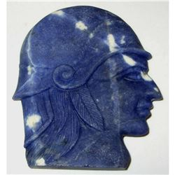 274ct Sodalite Gemstone Carving, Soldier's Head