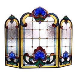 Victorian Tiffany-Style Stained Glass Folding Fireplace Screen