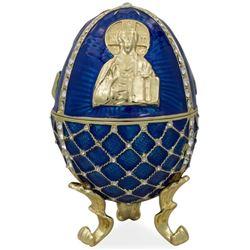 Russian Jesus Icon Enameled Trinket Jewel Box Egg