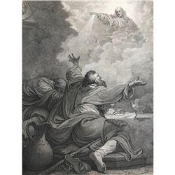 19thc Antique British Steel Engraving, Biblical Scene, Jesus Appearing in Clouds