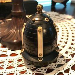 Rare 19thc Gutta Percha, Ivory & Brass Domed Parlor Trinket Display Case