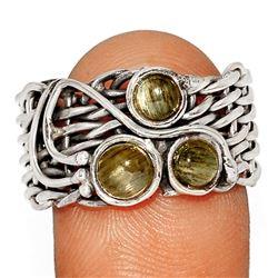African Sunstone Basket Weave Sterling Silver Ring