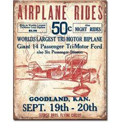 Airplane Rides Garage Pub Bar Metal Sign