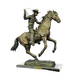 Cowboy With Rope Signed Bronze Western Sculpture