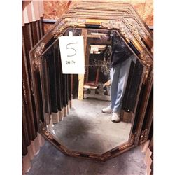 Victorian Style Carved Wood & Gilt Octagonal Beveled Mirror