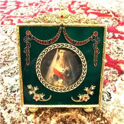 Russian Faberge-Style Green Enameled Guilloche Decorative Frame
