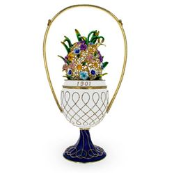 Basket of Flowers Russian Royal Trinket Jewel Box Egg