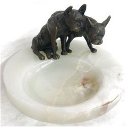 Two English Bulldogs Bronze & Onyx Tray