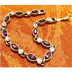 Amethyst & Crystal Gold Plated Bracelet