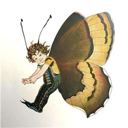 1914 Butterfly Babies Color Lithograph, Brown Elfin Butterfly