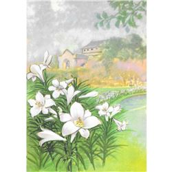1920's Easter Lily Color Lithograph Print