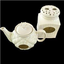 Ceramic Teapot & Tea Caddy Canister Set