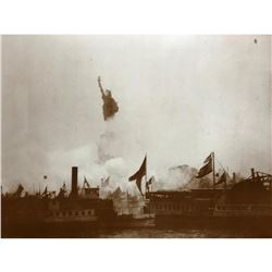 Unveiling of The Statue of Liberty Sepia Photo Print