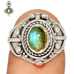 Rare Labradorite & Sterling Silver Poison Ring
