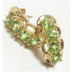 2.55cts Green Peridot Gemstone & Gold Drop Earrings