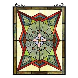 Geometric Style Stained Art Glass Hanging Panel