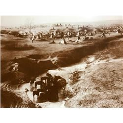 Native American History, Sioux Camp South Dakota Sepia Photo Print