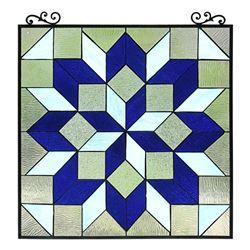 Geometric Cubist Design Stained Art Glass Hanging Window Panel