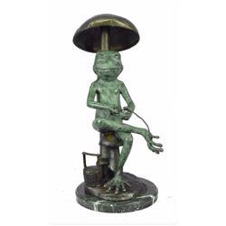 Signed Original Limited Edition Frog Under Mushroom Bronze Conservatory Sculpture