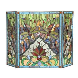 Tiffany Victorian-style Dragonfly Folding Fireplace Screen