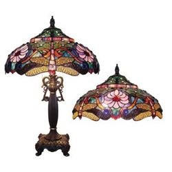 Tiffany Style Dragonfly Design Stained Glass Table Lamp