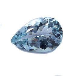 1.7ct Natural Light Blue Aquamarine Pear Faceted Gemstone