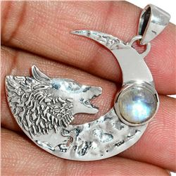 Moonstone Wolf & Crescent Moon Sterling Silver Pendant
