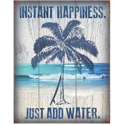 """""""Instant Happiness"""" Palm Tree Metal Pub Bar, Beach House Sign"""