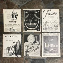 Group of French Art Deco Ads, Perfume, Liqour, Jewelry
