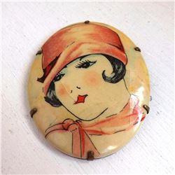 1920's Art Deco Flapper Celluloid Brooch Pin