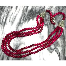 Natural Rough Ruby Gemstone Beads Triple Stand Necklace