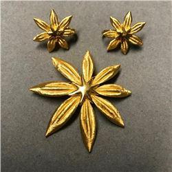 Vintage Trifari Starfish Brooch & Earrings Set