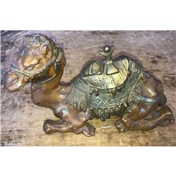 Large Antique Cold Painted Metal Camel Inkwell
