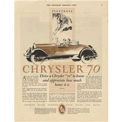1927 Chrysler Motorcar Saturday Evening Post Advertisement