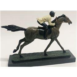 Equestrian Jockey On Horse Bronze Sculpture