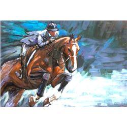 Mixed Media 3D Equestrian Sports Metal Painting