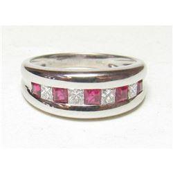 Estate 18K White Gold Ruby & Diamond Ring